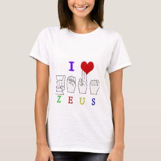ゼウスASL FINGERSPELLEDの男性の名前 Tシャツ