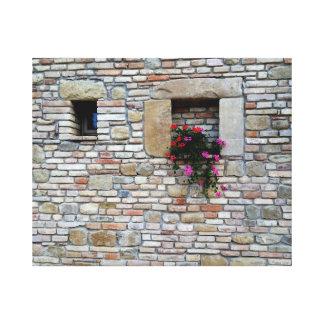 ゼラニウムが付いているイタリアンな壁 キャンバスプリント