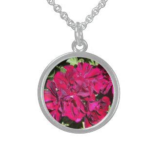 ゼラニウムの花の赤 スターリングシルバーネックレス