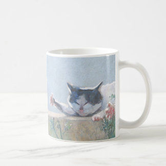 ゼラニウムを持つ猫 コーヒーマグカップ