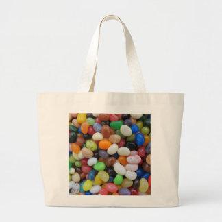 ゼリー菓子の黒の青緑キャンデーの質のテンプレート ラージトートバッグ