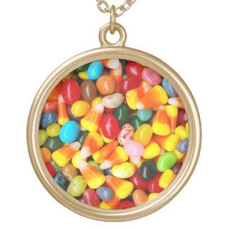 ゼリー菓子及びキャンデートウモロコシ ゴールドプレートネックレス