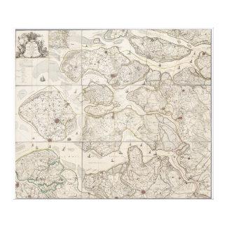 ゼーラントジーランド島の地域の9刃が付いた地図 キャンバスプリント