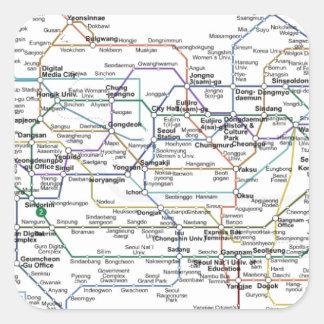 ソウルの地下鉄の地図 スクエアシール