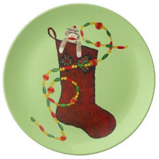 ソックス猿のクリスマスのコレクタ板 磁器プレート