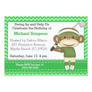 ソックス猿のゴルフ誕生日の招待状 12.7 X 17.8 インビテーションカード