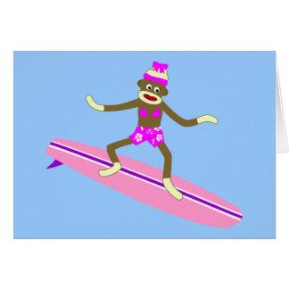 ソックス猿のサーファーの女の子 カード
