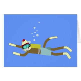 ソックス猿のスキューバダイバー カード