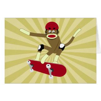 ソックス猿のスケートボーダー グリーティングカード