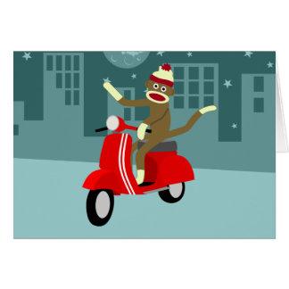 ソックス猿のスズメバチのスクーター グリーティングカード