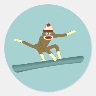 ソックス猿のスノーボーダー ラウンドシール