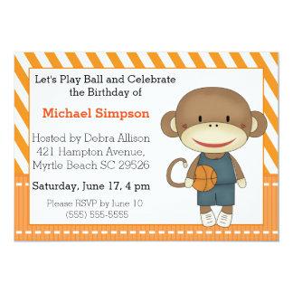 ソックス猿のバスケットボールの誕生日の招待状 12.7 X 17.8 インビテーションカード