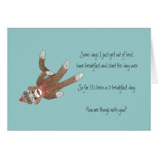 ソックス猿のブランクの中のメッセージカード ノートカード