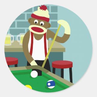 ソックス猿のプールのビリヤードをする人 ラウンドシール