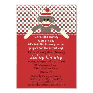 ソックス猿のベビーシャワーの招待-カスタマイズ カード