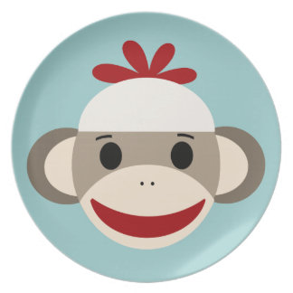 ソックス猿のメラミンディナー用大皿 プレート