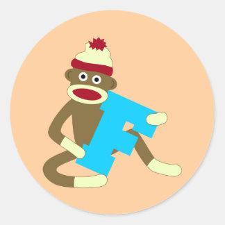 ソックス猿のモノグラムの男の子F ラウンドシール