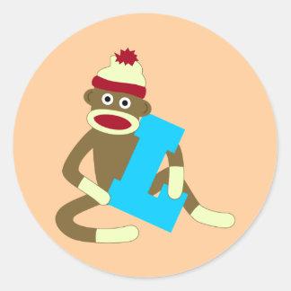 ソックス猿のモノグラムの男の子L ラウンドシール
