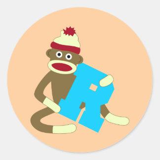 ソックス猿のモノグラムの男の子R ラウンドシール