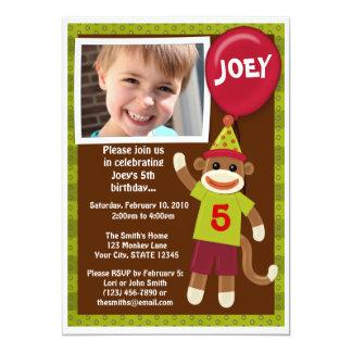 ソックス猿のモンキービジネスの誕生日の招待状 カード
