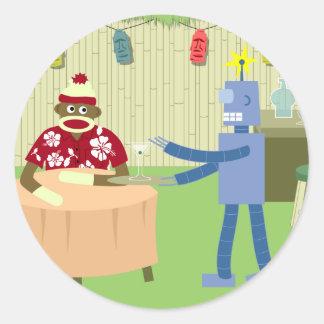 ソックス猿のロボットウェイター ラウンドシール