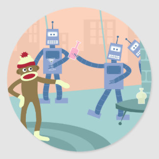ソックス猿のロボットカクテルパーティー ラウンドシール