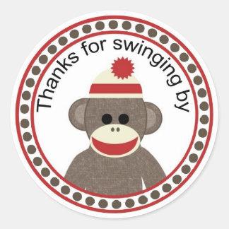 ソックス猿の円形のステッカーによって振動をありがとう ラウンドシール