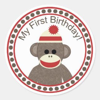 ソックス猿の最初誕生日のステッカー ラウンドシール
