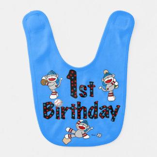ソックス猿の野球の第1誕生日のよだれかけ ベビービブ