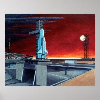 ソビエトスペースシャトルの満月の発射点の概念 ポスター