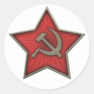 ソビエト星のソ連国旗の共産主義者 ラウンドシール