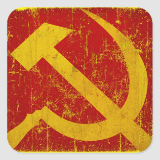 ソビエト社会主義共和国連邦ロシアのハンマー及び鎌のグランジなステッカー スクエアシール