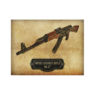 ソビエト突撃銃のカラシニコフ自動小銃銃のプリント ウッドポスター