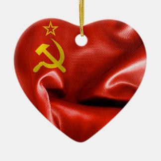 ソビエト連邦の旗のハートの陶磁器のクリスマスのオーナメント セラミックオーナメント