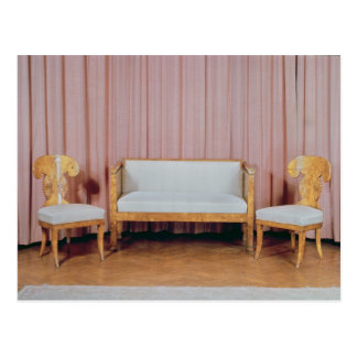 ソファーおよび2脚の椅子のKarelian樺の木1810-20年 ポストカード