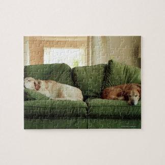 ソファーで眠っている犬 ジグソーパズル