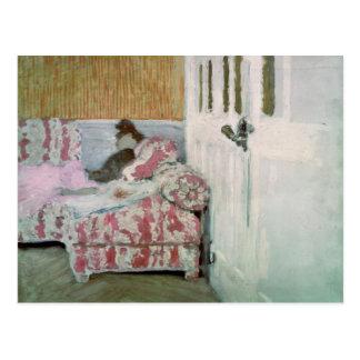 ソファー、か白い部屋 ポストカード