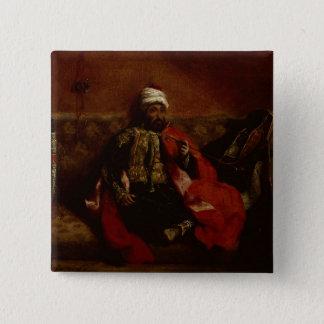 ソファー、c.1825に坐るトルコ人の喫煙 5.1cm 正方形バッジ