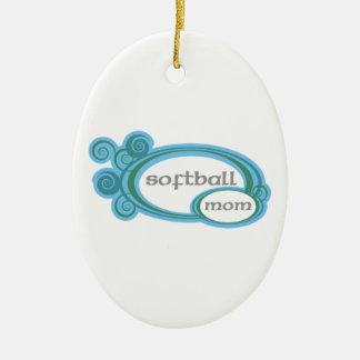 ソフトボールのお母さんの渦巻 陶器製卵型オーナメント