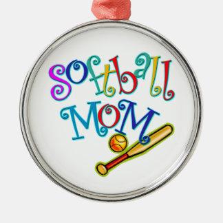 ソフトボールのお母さん シルバーカラー丸型オーナメント