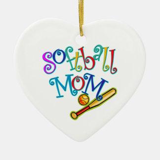 ソフトボールのお母さん 陶器製ハート型オーナメント