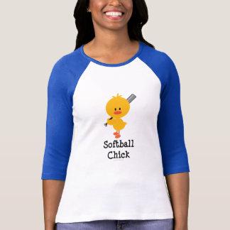 ソフトボールのひよこのRaglanのTシャツ Tシャツ