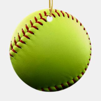 ソフトボールのクリスマスのオーナメント 陶器製丸型オーナメント