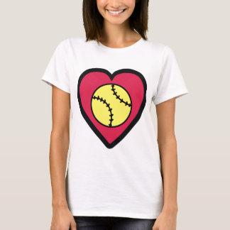 ソフトボールのハート Tシャツ