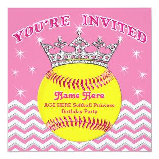 ソフトボールのプリンセスのソフトボールの誕生日の招待状 13.3 スクエアインビテーションカード