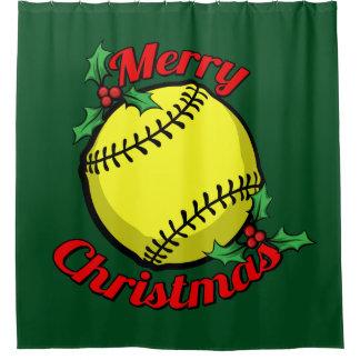 ソフトボールのメリークリスマス シャワーカーテン