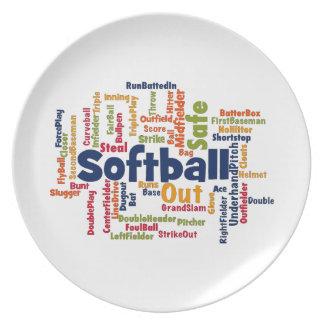 ソフトボールの単語の雲 プレート