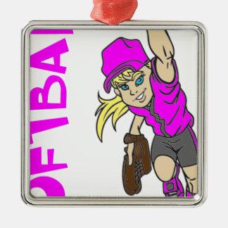 ソフトボールの女の子の投げる文字 メタルオーナメント