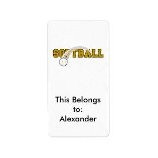 ソフトボールの文字の球の急襲のデザイン ラベル
