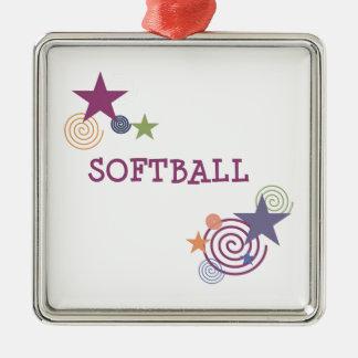 ソフトボールの渦巻 シルバーカラー正方形オーナメント